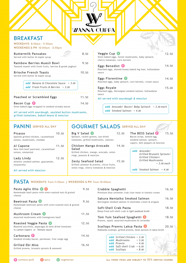 """Page 1 of the Main Menu showcases a variety of delectable food offerings at WANNA CUPPA. Food items are listed under the titles: Breakfast, Panini, Gourmet Salads and Pasta Dishes.  Add-on ingredients available for each section are also included on this page. Symbols denoting """"contains pork"""", """"spicy"""" and """"vegetarian"""" have been positioned next to the title of the relevant dishes."""