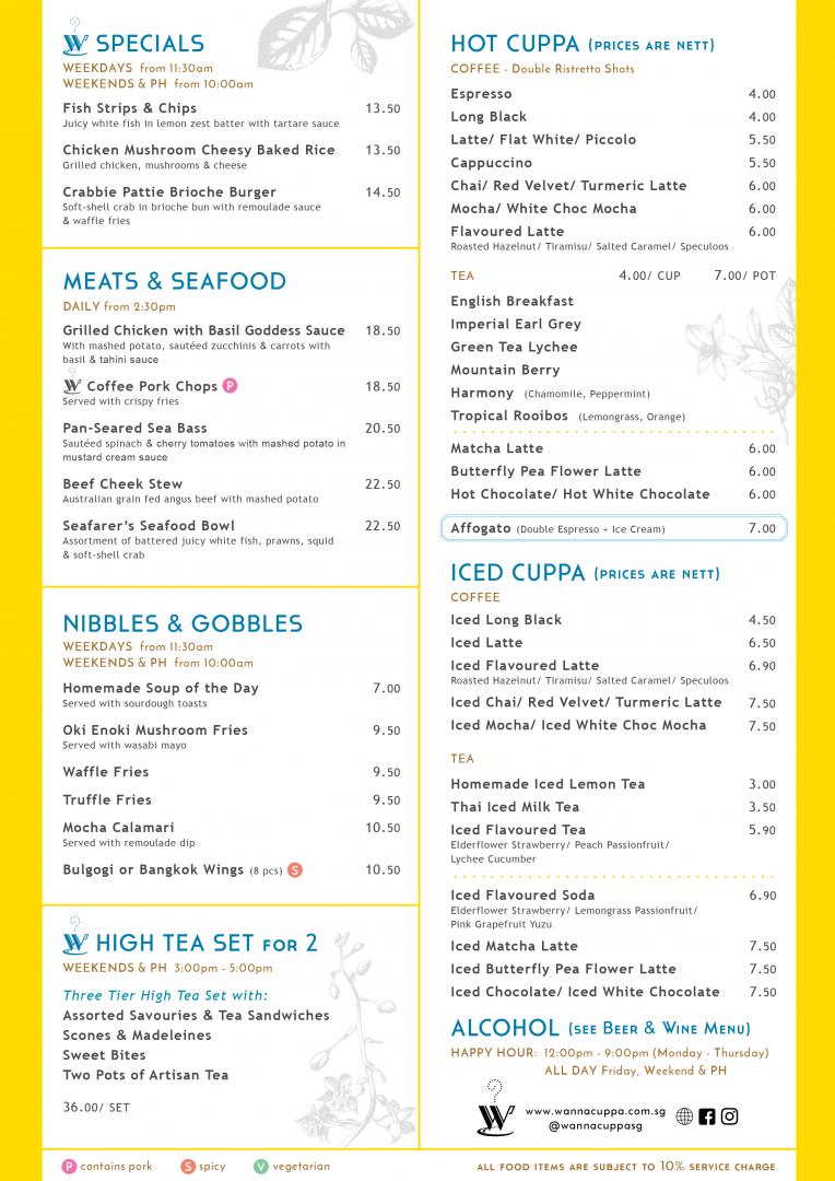 """Page 2 of the Main Menu also showcases a variety of delectable food offerings at WANNA CUPPA. Food items are listed under the titles: W Specials, Meats & Seafood Dishes, Nibbles & Gobbles and High Tea Set for 2. This page also includes a list of non-alcoholic beverages in Hot Cuppa and Cold Cuppa sections. Symbols denoting """"contains pork"""" and """"spicy"""" have been positioned next to the title of the relevant dishes. For alcoholic beverages, see Beer & Wine Menu."""